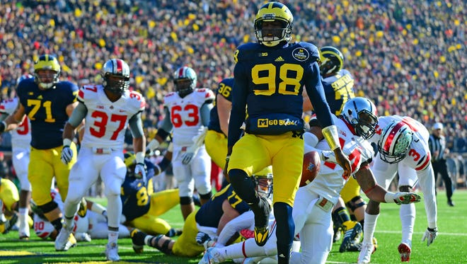 Devin Gardner celebrates after scoring a touchdown against Ohio State in last year's matchup.