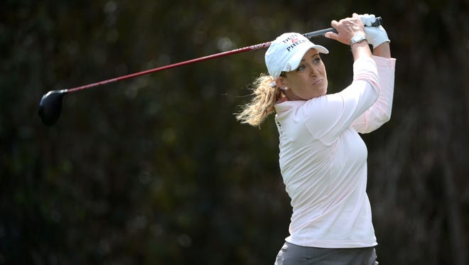 Cristie Kerr tees off the 5th hole during the third round of the KIA Classic at the Park Hyatt Aviara Resort on March 29  in Carlsbad, Calif.