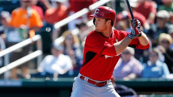 Non-roster invitee outfielder Brennan Boesch bats during