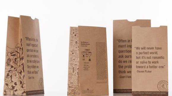 Steven Pinker is among the celebrity writers now scrawling their deep thoughts onto the sides of your Chipotle bags and cups.