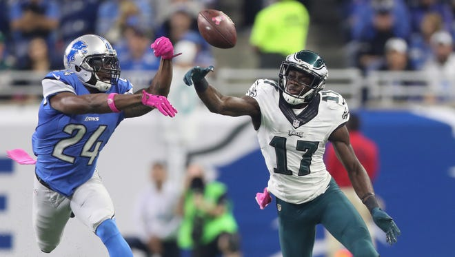 Lions cornerback Nevin Lawson defends against the Philadelphia Eagles' Nelson Agholor during the first half Sunday, Oct. 9, 2016 at Ford Field.