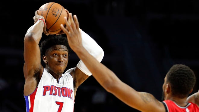 Detroit Pistons forward Stanley Johnson looks for an open man against the Toronto Raptors on Oct. 19, 2016, at the Palace of Auburn Hills.