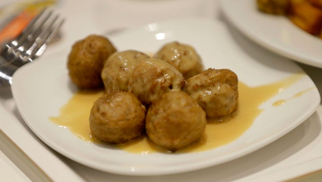 The famous Swedish meatballs are served.