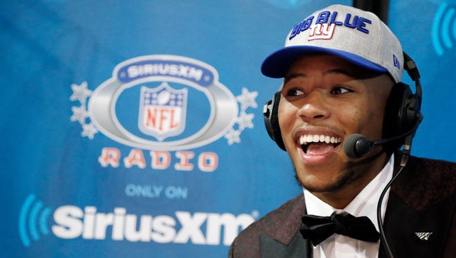 New York Giants draftee, running back Saquon Barkley on air with SiriusXM Thursday, April 26, 2018 in Dallas.