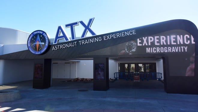 The entrance into the new Astronaut Training Experience (ATX) from inside the Kennedy Space Center Visitor Complex.