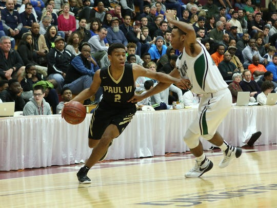 Paul VI's Aaron Thompson #2 in action against St. Joseph (NJ) during a high school basketball game in the Hoophall Classic at Springfield College on Saturday, January 16, 2016 in Springfield, MA.  (AP Photo/Gregory Payan)
