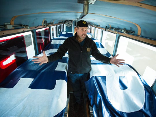 A campaign bus used for the presidential hopeful Donald Trump in Iowa was bought by t.Rutt a writer, entrepreneur, economist, and artist (according to his website). Artist Dave Gleeson explains their plans for the bus Monday Oct. 19, 2015, making it a mobile art piece.