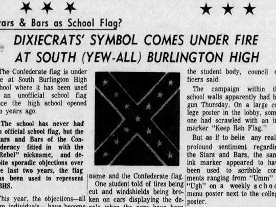 In this article from The Burlington Free Press from Nov. 20, 1964, the Confederate Flag was under fire as SBHS symbol.