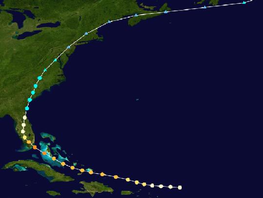 "The track of the 1945 ""Homestead hurricane."""