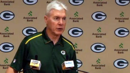 Green Bay Packers general manager Ted Thompson talks to reporters on Wednesday, Aug. 6, 2014.