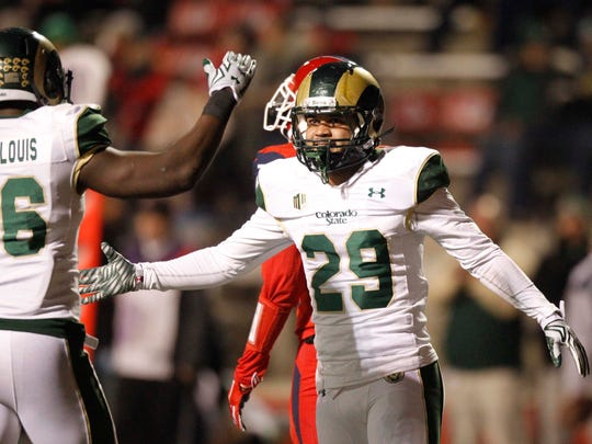 Colorado State Rams defensive back Justin Sweet (29) reacts after breaking up a pass against the Fresno State Bulldogs in the first quarter at Bulldog Stadium.