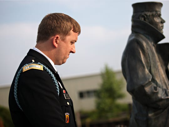 Vermont Army National Guard Capt. Zachariah Fike, founder of Purple Hearts Reunited, participates in a Purple Heart restoration ceremony at the Lake Champlain Navy Memorial in Burlington last August. The Vermont-based nonprofit has received a $50,000 grant to support its operations.