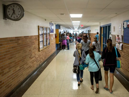 Students walk through a hallway Tuesday, September 13, 2016 at Marysville Middle School. Marysville Public Schools have received the most Schools of Choice applications of any district in St. Clair County and brought in 114 students this academic year.