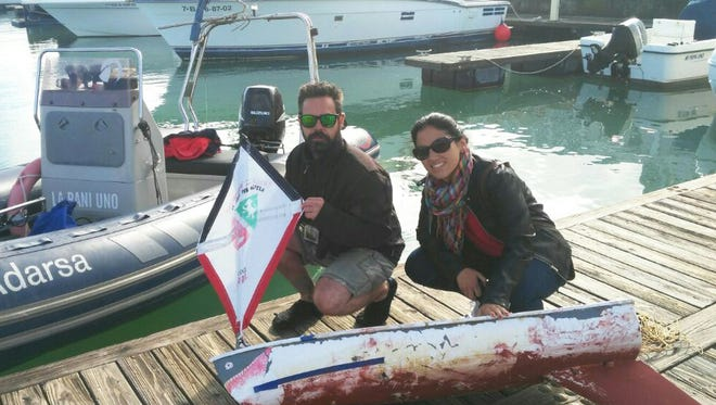 This small, unmanned sailboat launched by students from the Morristown-Beard School in December was recovered on April 16 in this port off the coast of Spain.