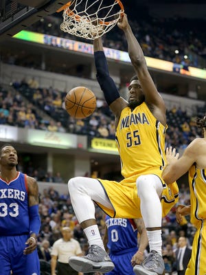 Indiana Pacers center Roy Hibbert (55) dunks for two points in the first half of their game Sunday, March 1, 2015, evening at Bankers Life Fieldhouse.