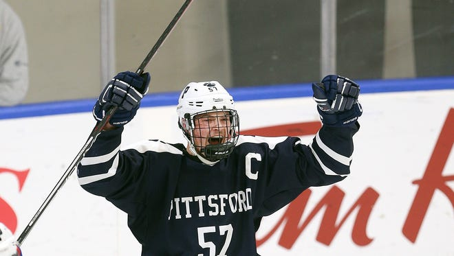 Pittsford's Connor Haims celebrates his goal against Messena in the state semifinal matchup.