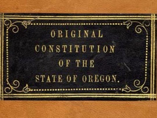 The newly restored Oregon State Constitution will be at the Oregon State Capitol starting at 10 a.m. Wednesday, Feb. 14, in the Galleria.