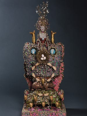 """'Queen's Folly, Marie Antoinette."""" made with hand built ceramic, wood, fresh water pearls, quartz, Swarovski crystals, metal, gold leaf and oil paint, is in the Delaware Museum of Art's 'Tableau: The Art of Richard Cleaver/'"""