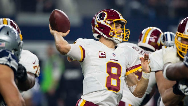 Nov 24, 2016: Washington Redskins quarterback Kirk Cousins (8) throws the ball against the Dallas Cowboys during the second half at AT&T Stadium.