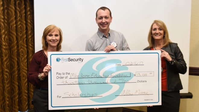 The Rotary Club of Mountain Home donates $13,000 to the Mountain Home Education Foundation: (From left to right) Mollie Morgan, executive director of the Education Foundation; Chris Carter, acting chairman of the Rotary Scholarship Committee; and Susan Stockton, Rotary president.