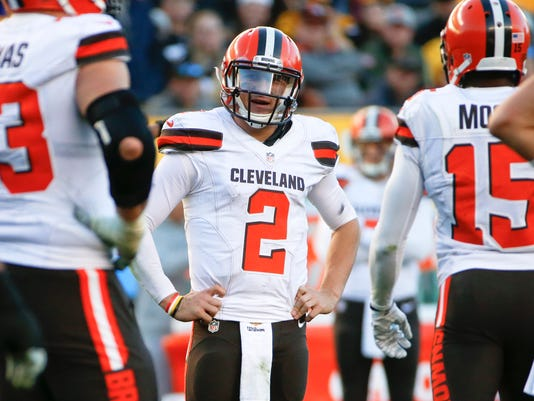 FILE - In this Nov. 15, 2015, file photo, Cleveland Browns quarterback Johnny Manziel (2) plays during an NFL football game against the Pittsburgh Steelers, in Pittsburgh. Browns coach Mike Pettine says he's disappointed with Manziel's off-field behavior and may bench the quarterback. (AP Photo/Gene J. Puskar, File)