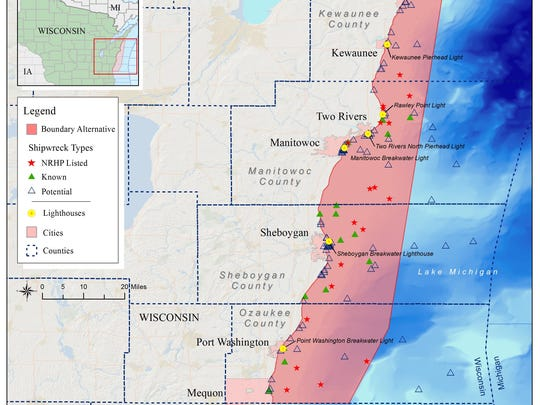 NOAA's second alternative for a Wisconsin-Lake Michigan National Marine Sanctuary encompasses 1,260 square miles, 38 shipwrecks and 95 potential shipwrecks.