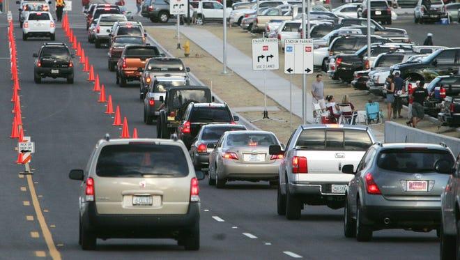 Traffic near University of Phoenix Stadium in Glendale.