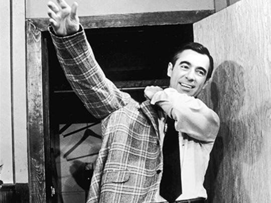 "Fred Rogers first greeted his TV neighbors when ""Mister Rogers' Neighborhood"" made its debut on PBS in 1968."