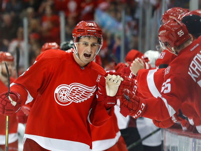 Detroit Red Wings' Dylan Larkin (71) celebrates his