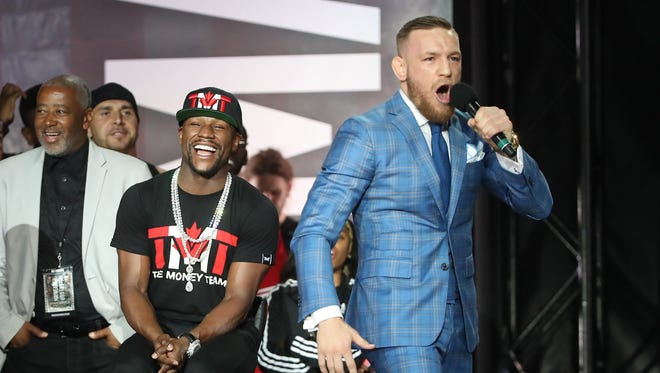 Conor McGregor taunted Floyd Mayweather during a world tour press conference to promote the upcoming Mayweather-McGregor boxing match.
