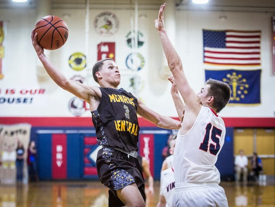Israel Nash goes up for a shot against Blue River during