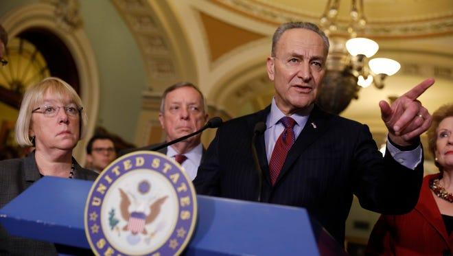 Senate Minority Leader Chuck Schumer, D-N.Y., speaks on Capitol Hill on Jan. 31, 2017.