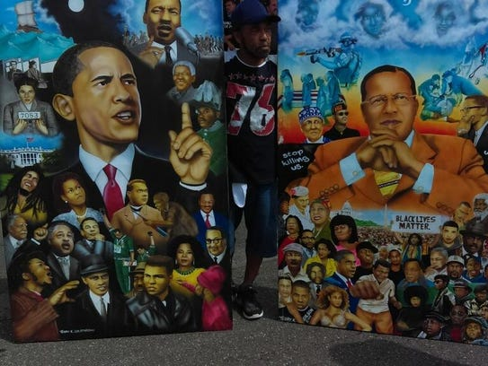 Artwork was set up near the rally site for the Black