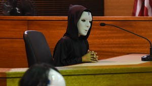 """Emperor Palpatine, played by Zander Barcinas, 10, takes the witness stand during a mock trial of """"The People v. Luke Skywalker"""" at the Superior Court of Guam in Hagåtna on April 30, 2018."""