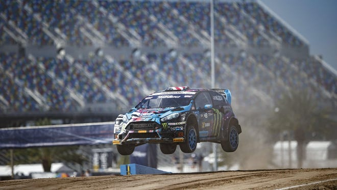 Ken Block's car flies over a jump during a Red Bull Rallycross event in Daytona Beach, Fla., on June 19.