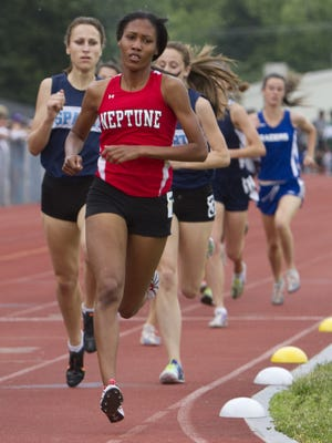 Ajee Wilson of Neptune wins the C Group III 800 at the Group Championships in 2012.  She just competed in the Millrose Games.