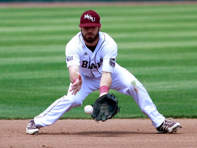Missouri State shortstop Joey Hawkins fields a ground ball during a game against the Illinois State Redbirds at Hammons Field on Friday, April 18, 2014.