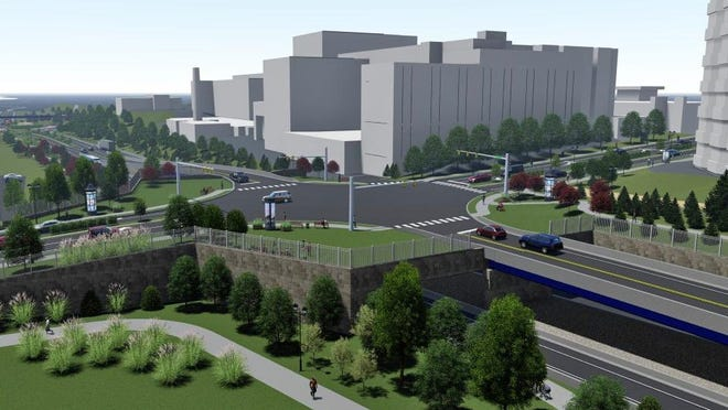 This rendering shows an updated option to reconfigure the State Street/Bayfront Parkway intersection in Erie. Several options are currently under consideration by the Pennsylvania Department of Transportation, which has already held a number of public sessions on the project.