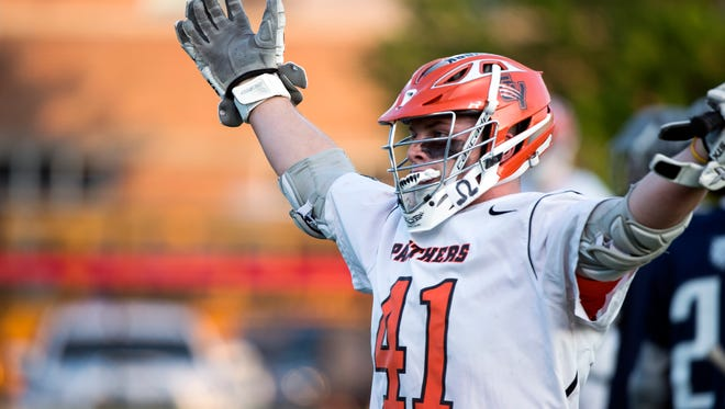 Central York's Kollin Vaught celebrates after making an unassisted goal during the YAIAA semifinals on Wednesday, May 9, 2018. The Central York Panthers topped the Dallastown Wildcats, 20-8, to advance to the finals.