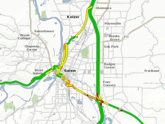 Traffic volume on Salem area streets Wednesday morning.