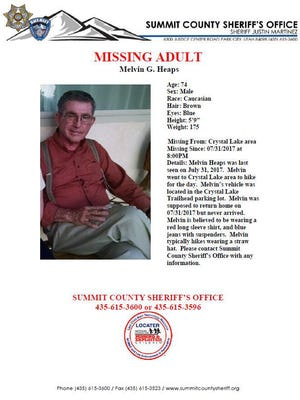 Melvin Heaps, 74, has been missing in northern Utah since July 31.