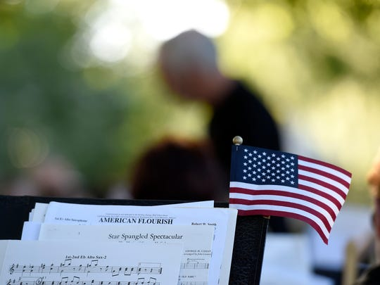 The Lebanon Community Concert Band performed patriotic songs for visitors on Flag Day, June 14, at Fisher Veterans Park in Lebanon.