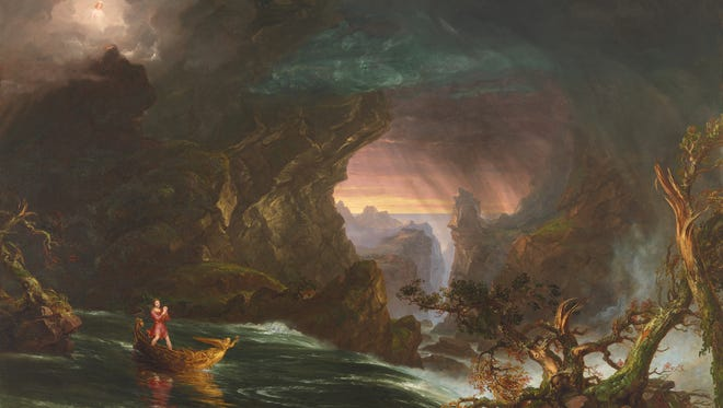 In the Manhood painting, Thomas Cole's traveler heads down the river of life praying for protection against the demons of Suicide, Intemperance and Murder.