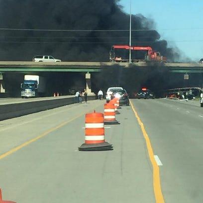 Black smoke is shown after a crash on I-80.