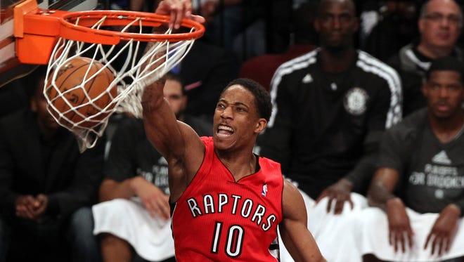 Toronto Raptors guard DeMar DeRozan (10) has been among leading scorers all season.