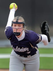 Appleton North's Marissa Mullen pitches against Kaukauna during an April 10 game.  Mullen suffered from scapular dyskinesis, or an abnormal movement of the shoulder blade tied to extensive use, last season.
