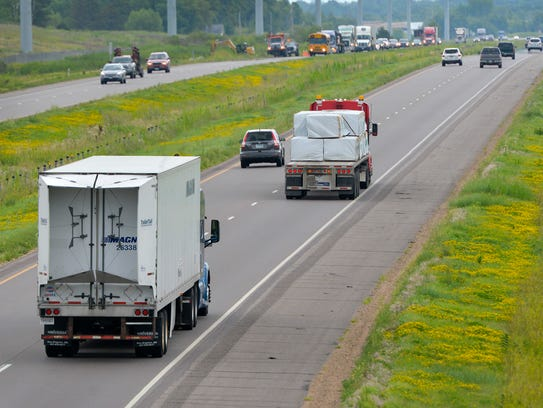 A semitractor-trailer rolls down Interstate Highway 94 from St. Cloud toward the Twin Cities in this August 2016 file photo.