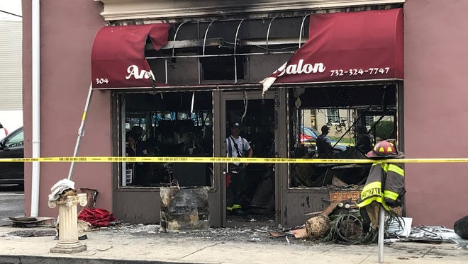 Andrea's Salon, 304 Elm St., Perth Amboy was heavily damaged in a Wednesday morning fire.