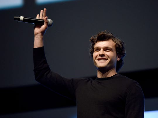Alden Ehrenreich, who plays young Han Solo, greets
