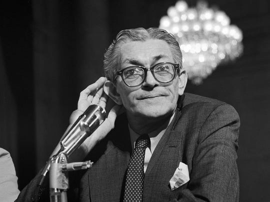 James Angleton, the longtime CIA counterintelligence chief, testifies before a Senate committee in 1975.